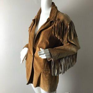 Vintage Tan Fringed Suede Jacket Distressed M
